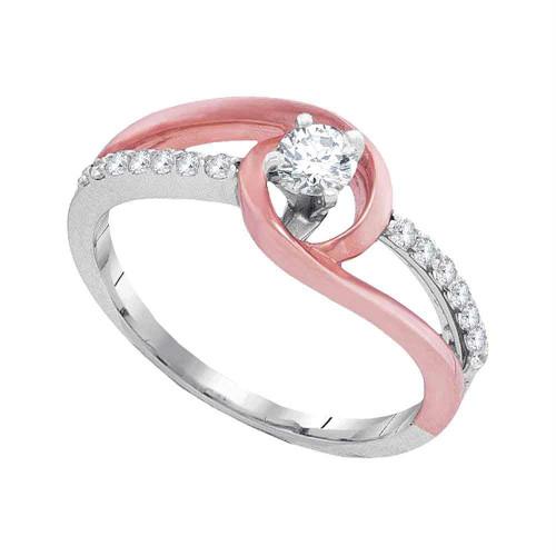 10k White Gold Womens Round Diamond Bridal Wedding Engagement Anniversary Ring 2-tone 1/3 Cttw