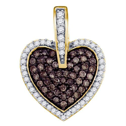 10kt Yellow Gold Womens Round Cognac-brown Color Enhanced Diamond Heart Love Pendant 1/2 Cttw