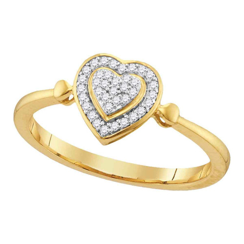 10kt Yellow Gold Womens Round Diamond Heart Love Cluster Ring 1/10 Cttw - 107873-10
