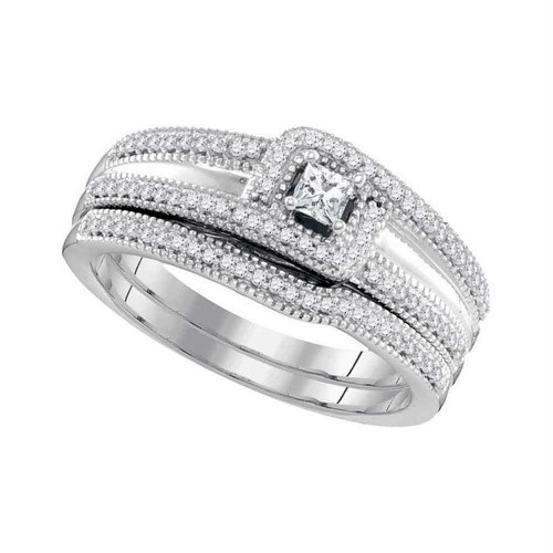 10k White Gold Princess Diamond Bridal Wedding Engagement Ring Band Set 1/3 Cttw - 98612-7