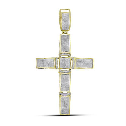 10kt Yellow Gold Mens Round Diamond Roman Cross Religious Charm Pendant 1-1/2 Cttw