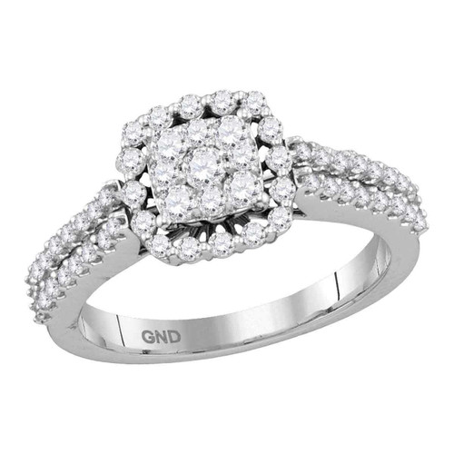 14kt White Gold Womens Round Diamond Square Frame Cluster Ring 1.00 Cttw