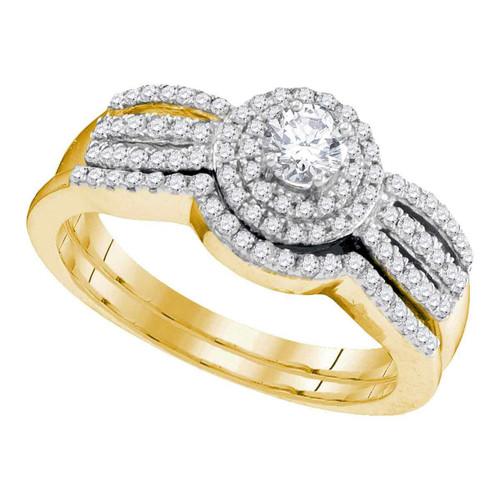 10kt Yellow Gold Womens Round Diamond Bridal Wedding Engagement Ring Band Set 1/2 Cttw - 95310-10.5