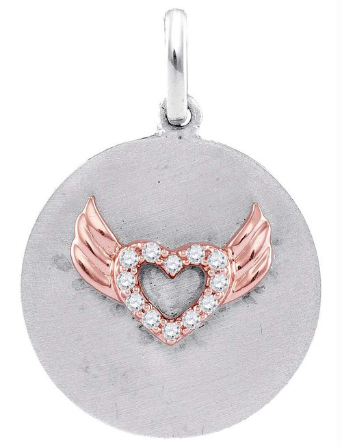 Sterling Silver Womens Round Diamond Angel Wings Heart Medallion Pendant 1/20 Cttw