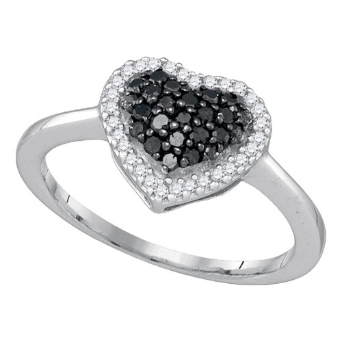 10k White Gold Black Color Enhanced Round Diamond Cluster Womens Love Heart Ring 1/3 Cttw