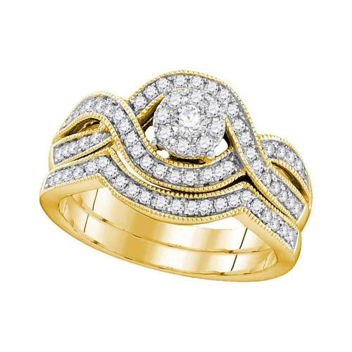 10kt Yellow Gold Womens Round Diamond Bridal Wedding Engagement Ring Band Set 1/2 Cttw - 106390-10.5