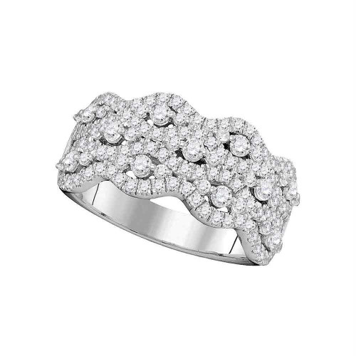 14kt White Gold Womens Round Pave-set Diamond Contoured Strand Cocktail Band 1-1/8 Cttw