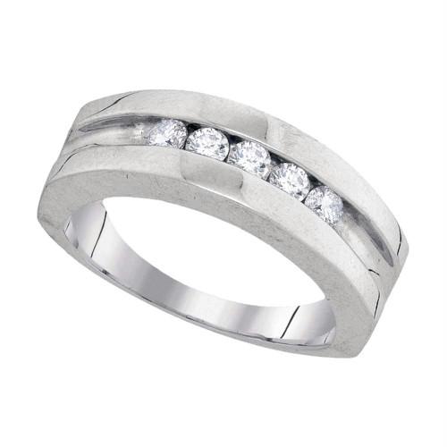 10kt White Gold Mens Round Diamond Wedding Band Ring 1/2 Cttw - 94010-8