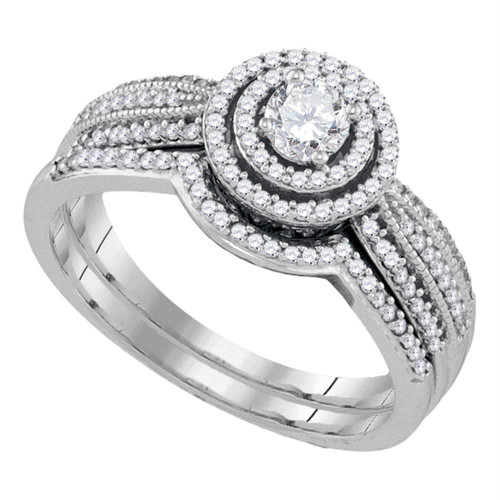 10k White Gold Womens Round Diamond Concentric Bridal Wedding Engagement Ring Band Set 1/2 Cttw