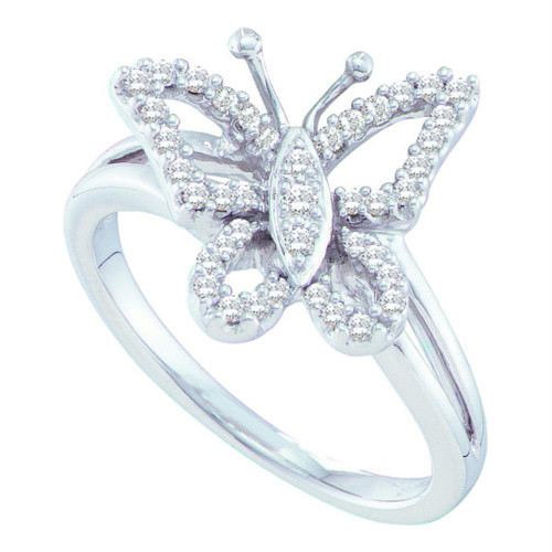 14kt White Gold Womens Round Diamond Butterfly Bug Cluster Ring 1/4 Cttw