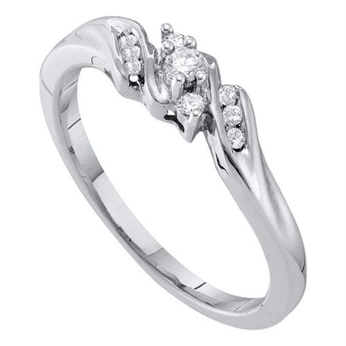 10k White Gold Round Diamond 3-stone Womens Bridal Wedding Engagement Promise Ring Slender 1/10 Cttw