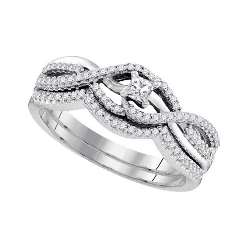 10k White Gold Princess Diamond Bridal Wedding Engagement Ring Band Set 1/3 Cttw - 98614-5