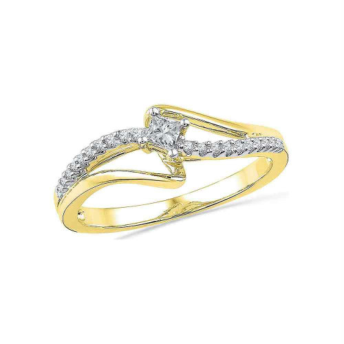 10kt Yellow Gold Womens Round Diamond Solitaire Promise Bridal Ring 1/6 Cttw - 100328-6.5