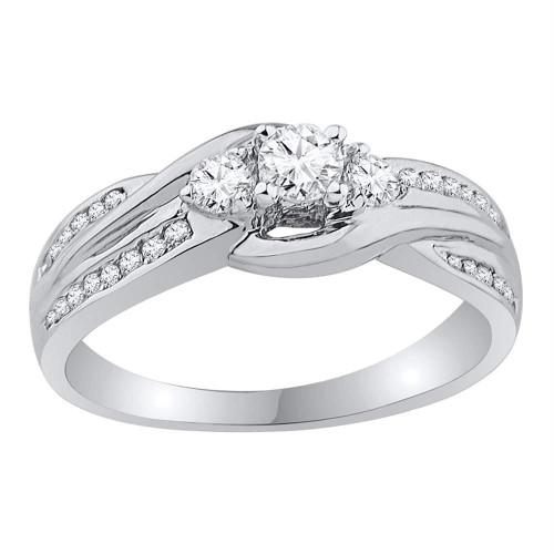 10k White Gold Womens Round 3-stone Diamond Bridal Wedding Engagement Ring 1/2 Cttw