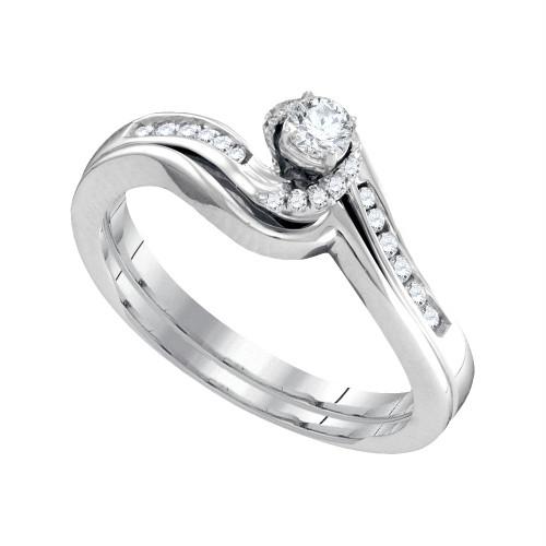 10k White Gold Womens Round Diamond Bridal Wedding Engagement Ring Band Set 1/4 Cttw - 95732-10