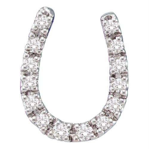 14kt White Gold Womens Round Diamond Horseshoe Pendant 1/10 Cttw