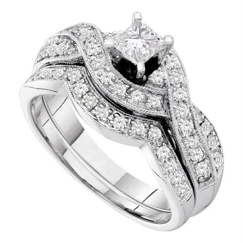 14kt White Gold Womens Princess Diamond Twist Bridal Wedding Engagement Ring Band Set 3/4 Cttw