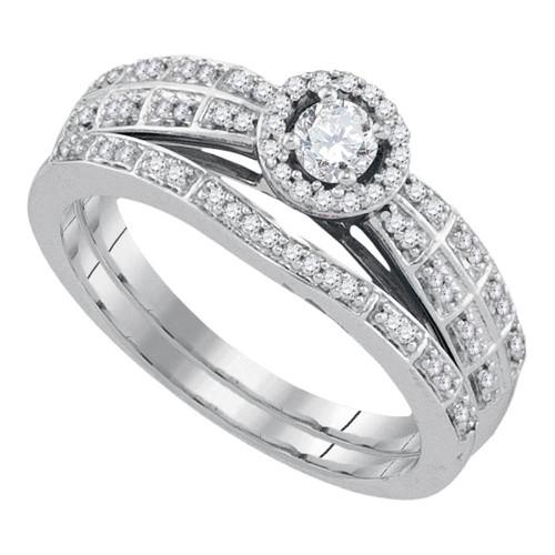 10k White Gold Round Diamond Halo Bridal Wedding Engagement Ring Band Set 1/3 Cttw
