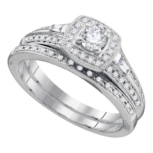 10k White Gold Womens Round Diamond Bridal Wedding Engagement Ring Band Set 1/2 Cttw