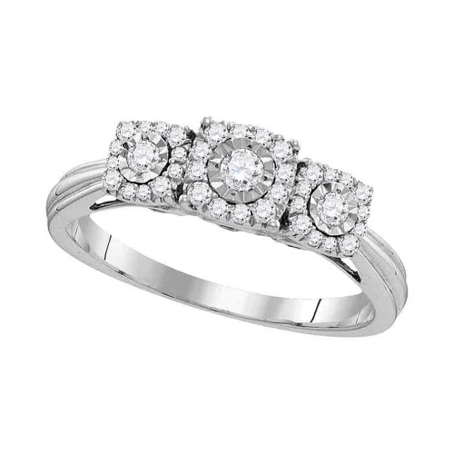 10kt White Gold Womens Round Diamond 3-stone Bridal Wedding Engagement Ring 1/2 Cttw - 109966-11