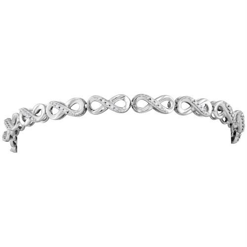 10kt White Gold Womens Round Diamond Infinity Tennis Bracelet 1/4 Cttw