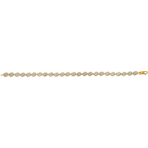 10kt Yellow Gold Womens Round Diamond Illusion-set Tennis Bracelet 1/5 Cttw