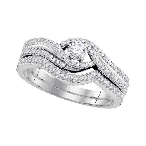 10k White Gold Round Diamond Bridal Wedding Engagement Ring Band Set 3/8 Cttw