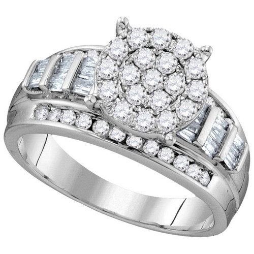 10kt White Gold Womens Round Diamond Cluster Bridal Wedding Engagement Ring 1/2 Cttw - 112676-6
