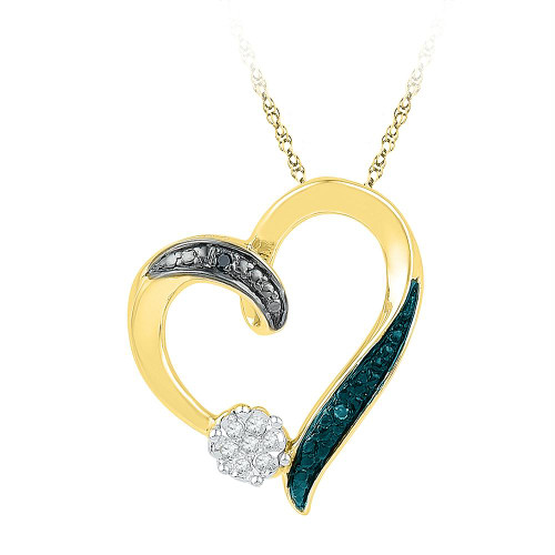 10kt Yellow Gold Womens Round Diamond Cluster Heart Pendant 1/20 Cttw