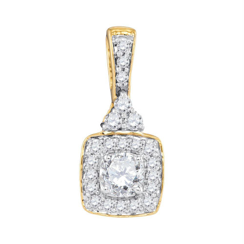 10kt Yellow Gold Womens Round Diamond Solitaire Square Frame Pendant 1/2 Cttw