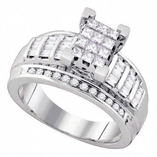 10kt White Gold Womens Princess Diamond Cindy's Dream Cluster Bridal Wedding Engagement Ring 7/8 Cttw - Size 7