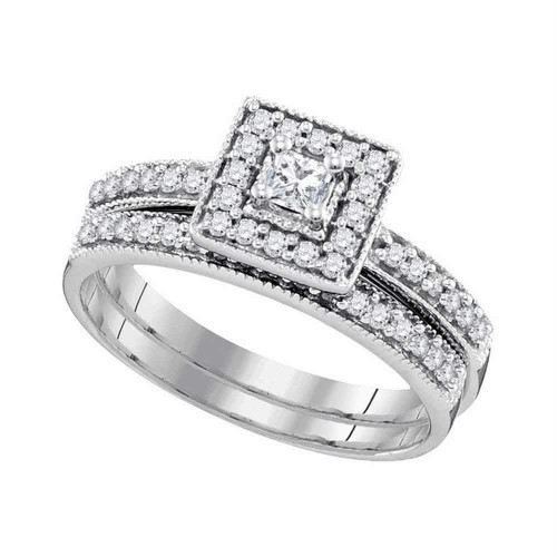 10kt White Gold Womens Princess Diamond Square Halo Bridal Wedding Engagement Ring Band Set 1/2 Cttw - 97189-7