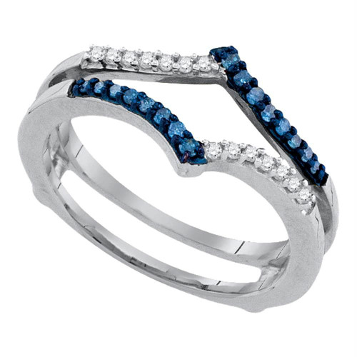 10kt White Gold Womens Round Blue Color Enhanced Diamond Ring Guard Wrap Enhancer Band 1/5 Cttw