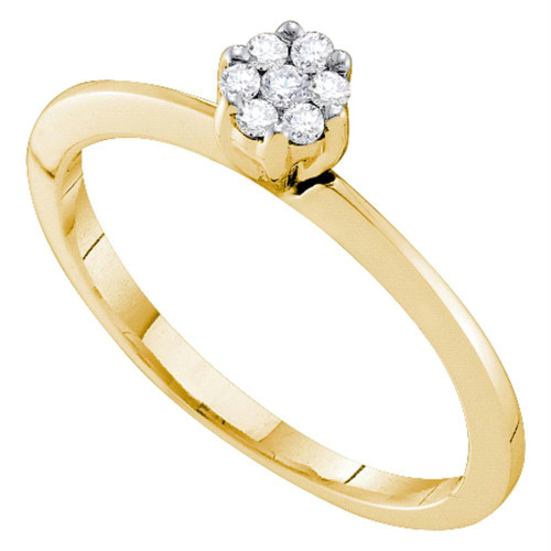 10k Yellow Gold Womens Round Diamond Cluster Bridal Wedding Engagement Promise Ring 1/8 Cttw