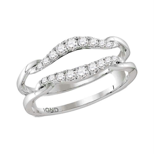 14kt White Gold Womens Round Diamond Ring Guard Wrap Solitaire Enhancer 1/3 Cttw - 115455-10