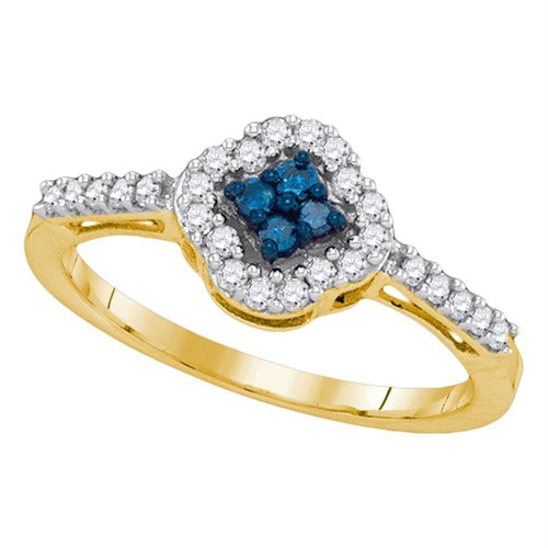 10kt Yellow Gold Womens Round Blue Color Enhanced Diamond Diagonal Square Cluster Ring 1/3 Cttw - 89603-5