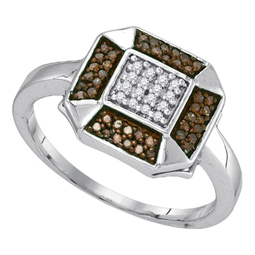 10kt White Gold Womens Round Cognac-brown Color Enhanced Diamond Square Cluster Ring 1/5 Cttw