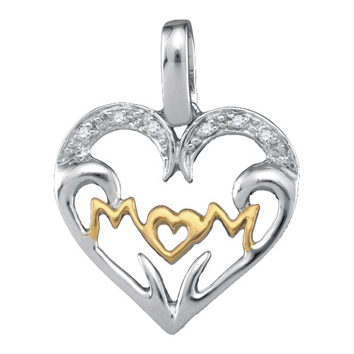 Sterling Silver Womens Round Diamond Mom Mother 2-tone Heart Pendant .03 Cttw