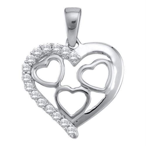 10k White Gold Womens Round Diamond Heart Love Pendant 1/5 Cttw