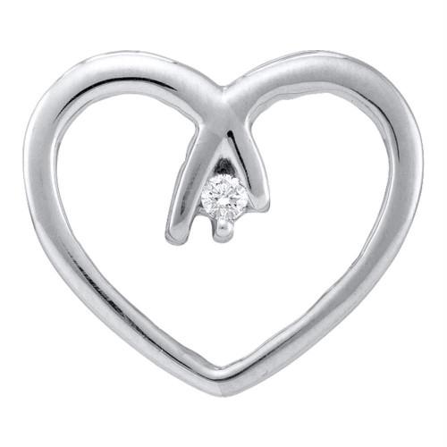 10kt White Gold Womens Round Diamond Solitaire Heart Pendant .03 Cttw
