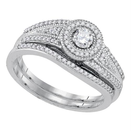 10k White Gold Womens Round Diamond Halo Bridal Wedding Engagement Ring Band Set 3/8 Cttw - 92154-10.5