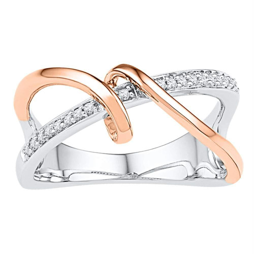 10kt White Gold Womens Round Diamond Rose-tone Spiral Strand Crossover Band Ring 1/10 Cttw