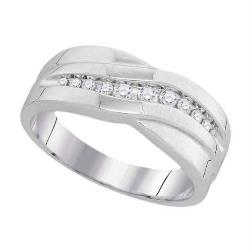 10k White Gold Round Diamond Mens Masculine Wedding Anniversary Band Ring 1/4 Cttw