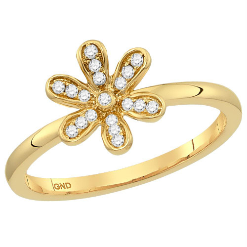 14kt Yellow Gold Womens Round Diamond Flower Floral Stackable Band Ring 1/10 Cttw