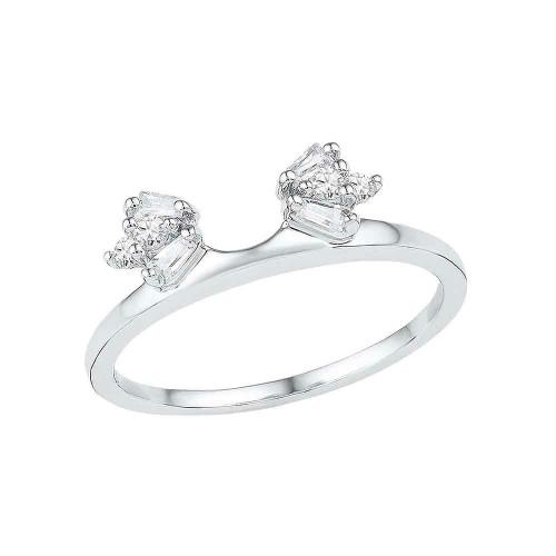 14kt White Gold Womens Baguette Diamond Ring Guard Wrap Solitaire Enhancer 1/5 Cttw - 100919-10.5
