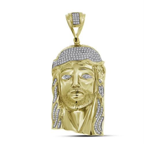 10kt Yellow Gold Mens Round Diamond Jesus Christ Messiah Head Charm Pendant 1.00 Cttw