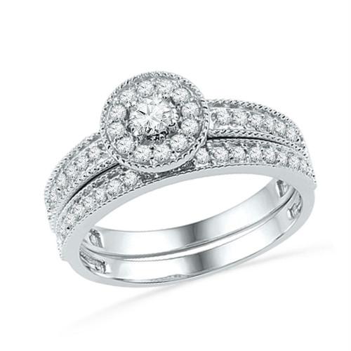 10k White Gold Womens Round Diamond Halo Bridal Wedding Engagement Ring Band Set 1/2 Cttw - 101831-5.5