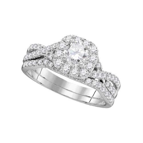 14kt White Gold Womens Round Diamond Halo Twist Bridal Wedding Engagement Ring Band Set 1.00 Cttw