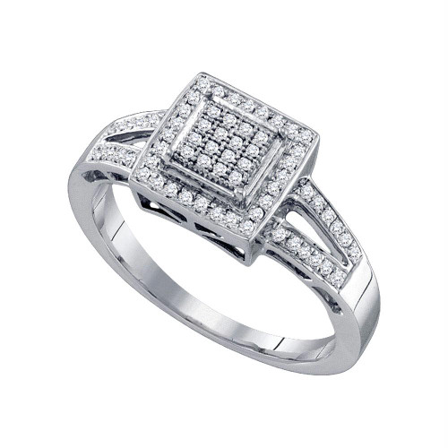 10kt White Gold Womens Round Diamond Square Cluster Bridal Wedding Engagement Ring 1/5 Cttw - 64636