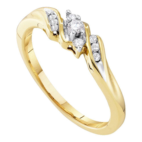 10kt Yellow Gold Womens Round Diamond 3-stone Promise Bridal Ring 1/10 Cttw